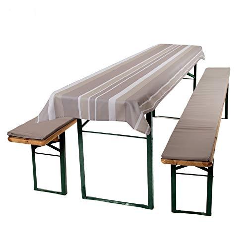 ESTEXO® Home & Garden 3-teiliges Auflagen-Set für Biertischgarnituren, Bierbankauflage, Sitzpolster, Bierzelt-Garnitur, Biertischauflage, Tischdecke (Silber)