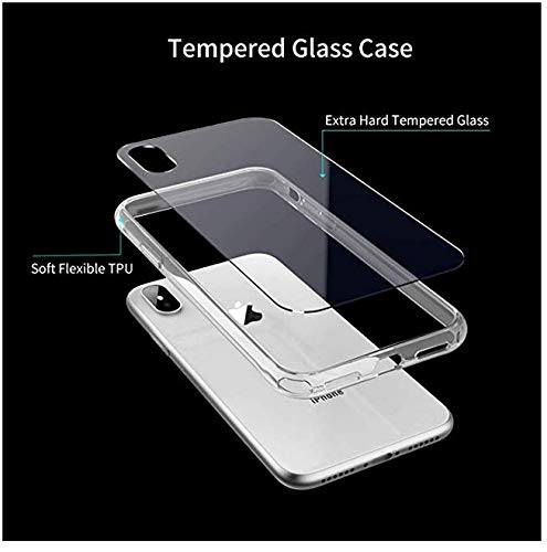 Clear Case for iphone Xs Max,Soft TPU Frame and Tempered Glass Back Double Protection Phone Cover for iPhone Xs Max (6.5 inch)