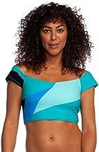 La Blanca Women's Off Shoulder Cap Sleeve Hipster Bikini Swimsuit Top, Blue//Sips/Slices, 10