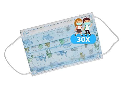 TBOC Nicht wiederverwendbare Hygienemaske für Kinder - [Packung 30 Einheiten] 3 Schichten [Blau Sea]