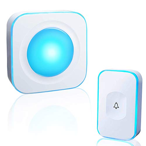 HUWOO Wireless Doorbell Waterproof Door Bell with 7 Colour Flash LED Light 36 Ringtones 4 Volume Levels Operating at 1000 Feet for Home Office 1 Plug-in Receiver & 1 Touch Button