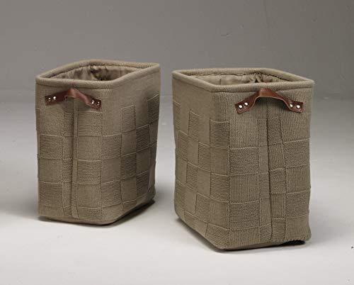 Artra Design 2-delige set gebreide manden, beige, bewaarmanden bewaren tijdschriften, brandhout, dekens, badkamer en huishouden, chique, praktisch, opberghulp, hakmandje