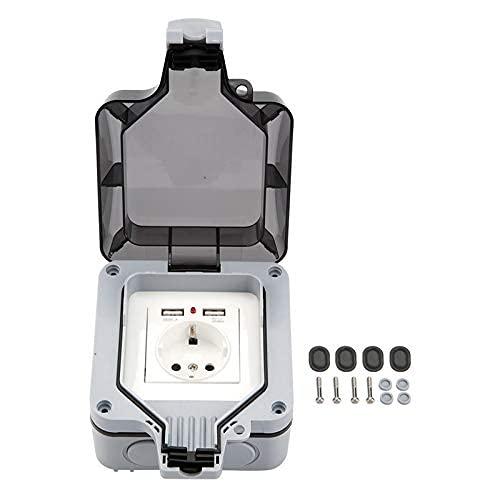 Enchufe externo DealMux con tapa, marco todo en uno + inserto integrado + 2 interruptores USB + tapa (enchufe de la UE)
