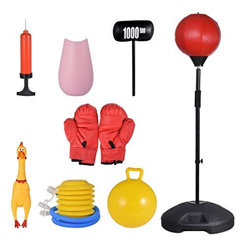 knowledgi Saco de boxeo para niños y adultos, con guantes de boxeo, altura ajustable de 1,2 a 1,5 m