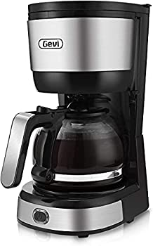 Gevi 4-Cup Coffee Maker with Auto-Shut Off Small Drip Coffeemaker Compact Coffee Pot Brewer Machine with Cone Filter Glass Carafe and Hot Plate Stainless Steel Finish