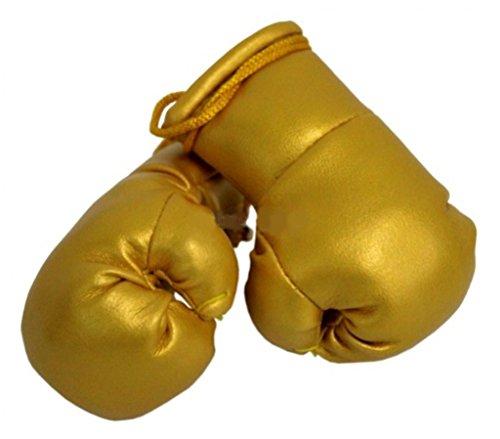 Sportfanshop24 Mini Boxhandschuhe Gold, 1 Paar (2 Stück) Miniboxhandschuhe z. B. für Auto-Innenspiegel
