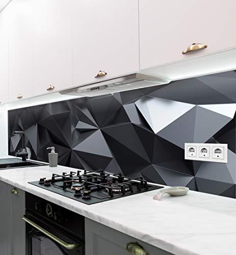 MyMaxxi | selbstklebende Küchenrückwand Folie ohne bohren | Aufkleber Motiv schwarz-Polygone | 60cm hoch | adhesive kitchen wall design | Wandtattoo Wandbild Küche | Wand-Deko | Wandgestaltung