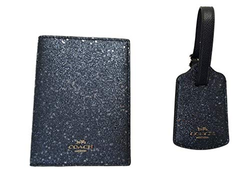 Coach Crossgrain Leather Passport Case & Crossgrain Leather Luggage Tag Travel Gift Box Set F38644 (Midnight/Silver)