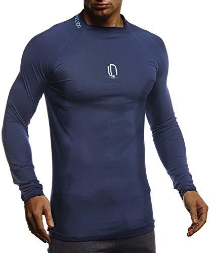 Leif Nelson Gym Herren Fitness Langarm-Shirt Funktionsshirt Slim Fit Männer Bodybuilder Trainingsshirt Sportshirt - Bekleidung für Bodybuilding Training LN8285 D-Blau-Türkis X-Large