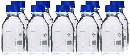 neoLab E-1431 Laborflaschen, GL 45, 500 mL, Iso-Gewinde, Kappe + Ausgießring (10-er Pack)