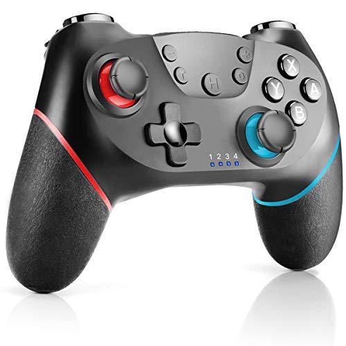CHEREEKI Controller für Nintendo Switch, Wireless Gamepad Joystick für Switch mit Dual Shock Vibration und Turbo Funktion Achsen Gyroskop Gaming Controller, Rot & Blau