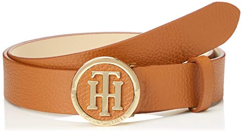 Tommy Hilfiger TH Round Buckle Belt 3.0 Cinturón, coñac, 80 cm para Mujer