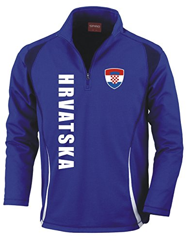 Aprom-Sports Kroatien Trainingstop - Fussball Sport - Blau (XL)