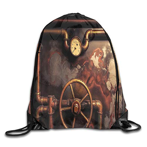 Bolsa con cordón para gimnasio, tubo de vapor y medidor de presión, estilo vintage, con cordón, mochila para la boca y gimnasio, para hombres y mujeres