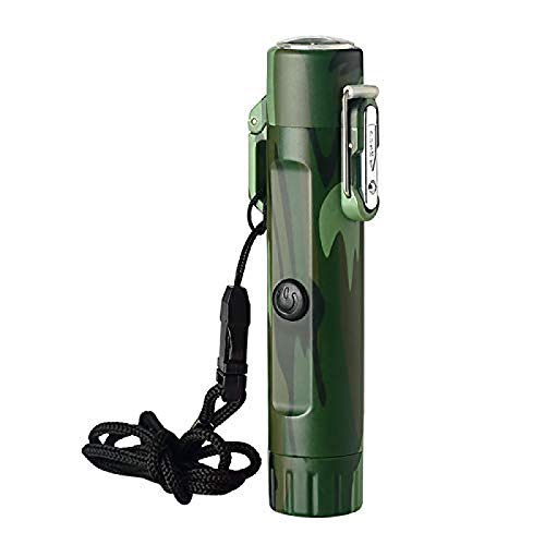 Flashlight Lighter,Convenient Multifunctional Waterproof Lighter Outdoor Alloy Lighter Keychain For Camping, Hiking, Backpacking And Adventure Outdoor, As Survival Tool Or Great Gift Ideas Camouflage