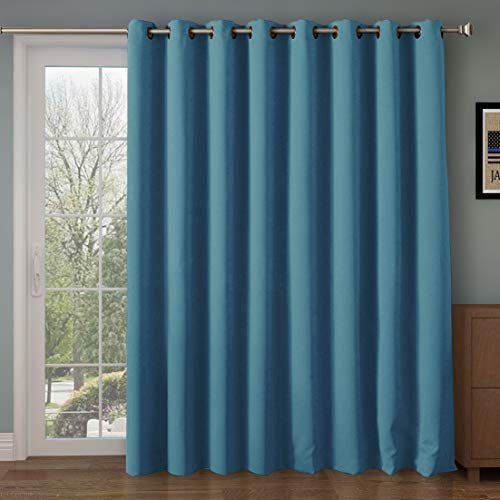 Rose Home Fashion RHF Blackout Thermal Insulated Curtain - Antique Bronze Grommet Top for Bedroom/Living Room(Turquoise-100 by 84 Inches)