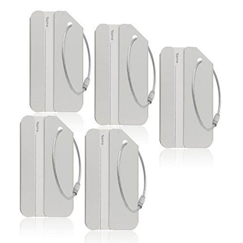 Aluminum Luggage Tag for Luggage Baggage Travel Identifier by CPACC (Silver 5 Pcs)