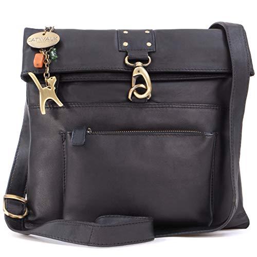 Catwalk Collection Handbags - Vera Pelle - Borse a Tracolla/Borsa a Mano/Messenger/Borsetta Donna - Con Ciondolo a Forma di Gatto - Dispatch - NERO
