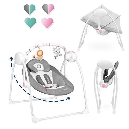 Lionelo Ruben Baby Wippe Babyschaukel Elektrisch mit Liegefunktion Baby Schaukel 0 bis 9 kg Moskitonetz 5 Schaukelgeschwindigkeiten Kuscheltierbügel (Dunkelgrau-Rosa)