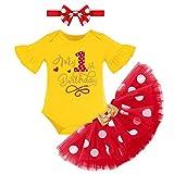 FYMNSI Conjunto de disfraz para bebé con falda de tutú de lunares + body de manga corta de algodón + diadema de orejas + juego de ropa de 3 piezas Amarillo + Rojo 1º cumpleaños 1 Año