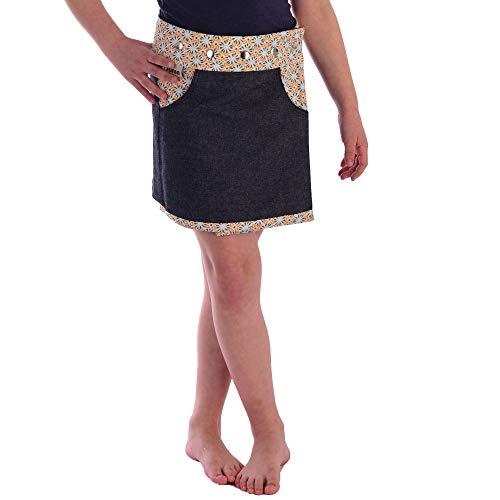 Sunsa Mädchen Rock Minirock Jeansrock Wende-Wickelrock Sommerrock kurz, Mini Jeans Mädchenrock Girls Skirt, 2 Kinder Röcke in einem, Verstellbarer Größe, Kid's Coole Sachen, Geschenk 15711