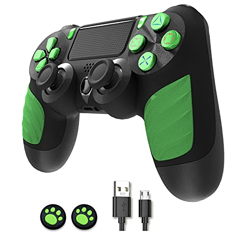 Wireless Controller compatible with PS4, Bluetooth Gamepad for Playstation 4 controllers PS-4/ Pro/ Slim PC Game Console With 1000mAh Rechargeable Battery, Double Vibration and Audio Function (Green)