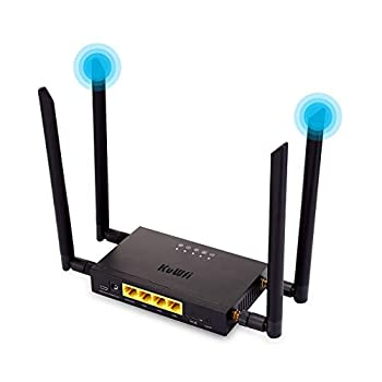 KuWFi 4G LTE Car WiFi Wireless Internet Router 300Mbps Cat 4 High Speed Industry CPE with SIM Card Slot and 4pcs External Antennas for USA/CA/Mexico Not for Verizon sim Card