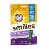 Arm & Hammer Smilies Dental Treats for Dogs | Dental Chews Fight Bad Breath, Plaque & Tartar without Brushing | Mint Flavor, 8 Pcs