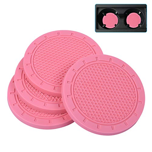 Car Coasters, Wisdompro 4 Pack PVC Car Cup Holder Insert Coaster - Anti Slip Universal Vehicle Interior Accessories Cup Mats for Women(2.75' Diameter, Pink)