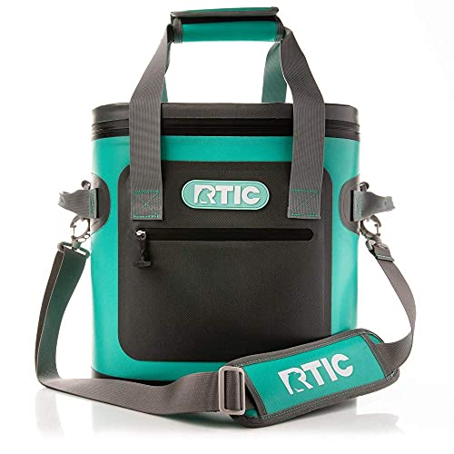 RTIC Soft Cooler 20, Seafoam, Insulated Bag, Leak Proof Zipper, Keeps Ice Cold for Days