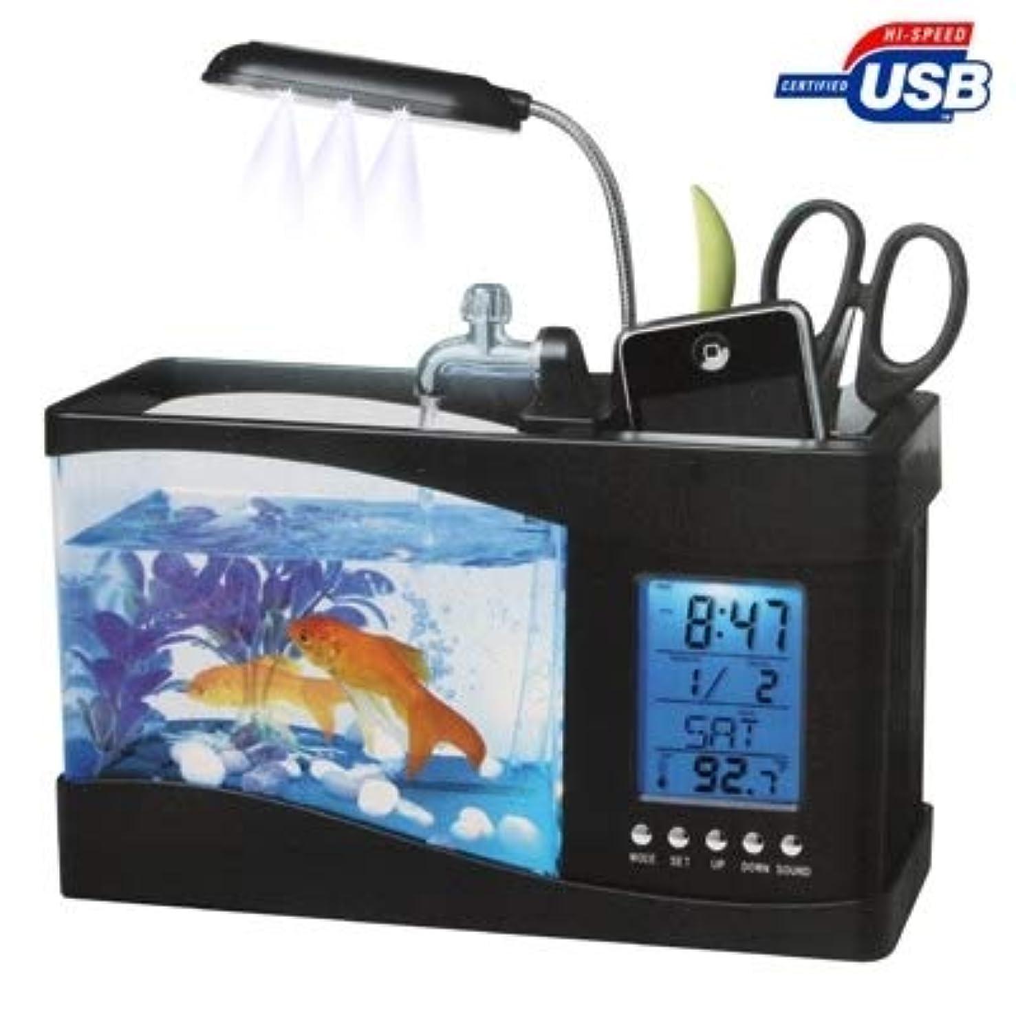 肉カプラー勝者水と6 LEDライト、カレンダーとLCDの時計表示を実行している村上の日のUSBデスクトップ水族館ミニ水槽、時間、アラーム(水1.5クオートを保持します) 村上の日
