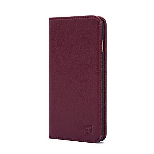 32nd Klassieke Serie - Echt Lederen Book Portemonnee Flip Hoesje Cover voor Apple iPhone 7, 8 & SE (2020), Echt Lederen Ontwerp Met Kaartsleuf, Magnetische Sluiting en Ingebouwde Standaard - Burgundy
