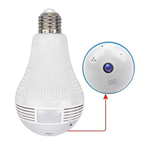 Cámara WiFi con bombilla Gentlen 1080P - Cámara ojo de pez inalámbrica gran angular 360 para seguridad en el hogar