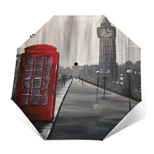 SUHETI Paraguas automático de Apertura/Cierre,Pintura al óleo artística Pintada a Mano,Big Ben,Londres,Inglaterra,Cabina de teléfono roja en la Calle,Paraguas pequeño Plegable a Prueba de Viento