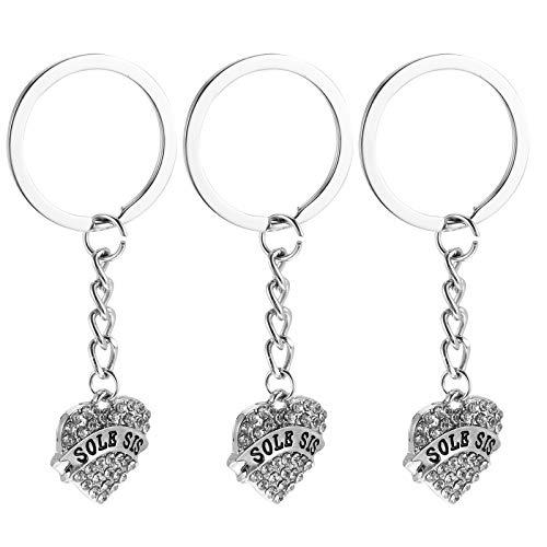 ABOOFAN items da festa 3 peças de pingente em forma de amor chaveiro chaveiro chaveiro chaveiro para irmã amiga