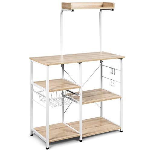 "Giantex Kitchen Baker's Rack, 4-Tier Microwave Storage Stand, Utility Storage, Wire Basket with 5 Hooks, Spice Utensils for Organizing Work Station Shelf 35.5"" Length (Beige&White)"
