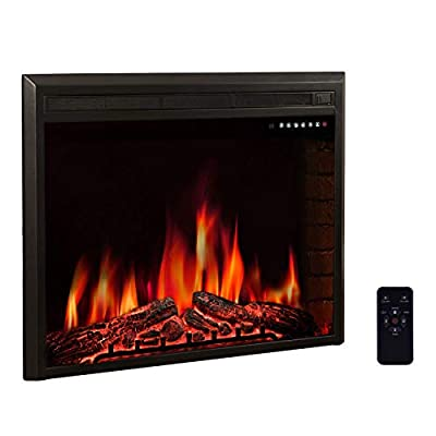 Kismile Electric Fireplace Insert,Recessed in Wall Freestanding Heater,Large Screen,Touch Screen,Multicolor Flames, Remote Control,750w/1500w,Black