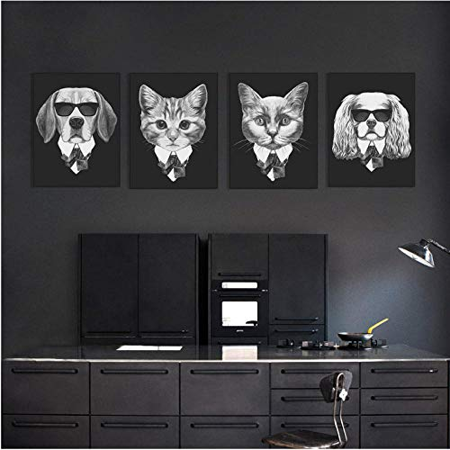 Rjunjie Italië Mafia Vintage hond en kat zwart wandafbeeldingen voor de woonkamer kunst canvas poster en afdrukken klassiek schilderij afbeeldingen (40 x 50 x 4 cm geen lijst)
