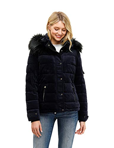 Royal Matrix Women's Hooded Puffer Jacket Short Winter Puffer Coat Full Zip Warm Thickened Coat (Sapphire, 0)