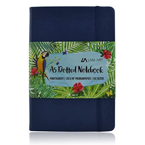 Lani Art Dotted Bullet Journal Notizbuch A5 Gepunktet, Hardcover Dot Grid Notebook, Premium Papier 120g/m², Kunstleder Notizbuch Punktkariert (Blau)