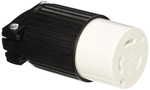 EATON L630C Arrow Hart Safety Grip Grounded Polarized Twist Lock Electrical Connector, 250 Vac, White