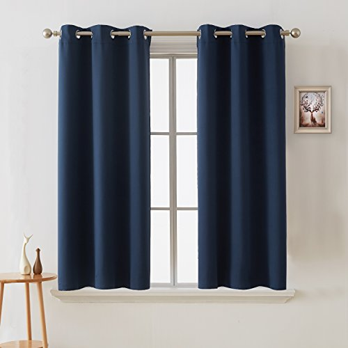 Deconovo Blackout Curtains Room Darkening Thermal Insulated Curtain Panels Grommet for Living Room Navy Blue 38 x 45 Inch 2 Panels