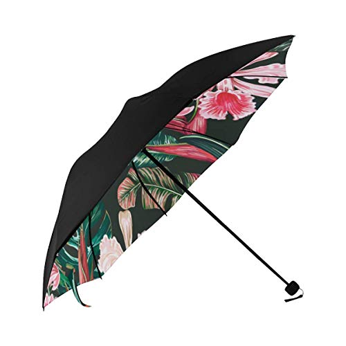 Landau Parapluie Tropical Jungle Palm Bird Underside Sun Reflecting Umbrella Compact Umbrella Windproof Travel Umbrella Travel Lightweight