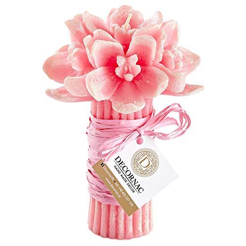 Grande Mazzo Di Fiori Orchidee Rosa Candele Profumate HANDMADE Con Oli Essenziali Naturali Aromaterapia |Regalo Mamma Donna Festa Dei Nonni Bouquet Orchidea Finta Con Paillette (Aroma Rosa)