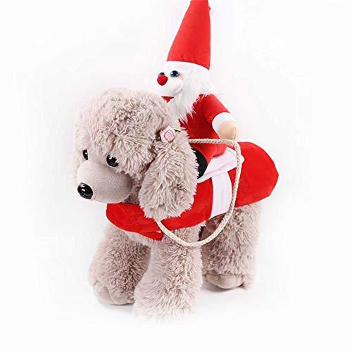 DishyKooker Weihnachtskostüm für Haustiere, für kleine und mittelgroße Hunde, Golden Retriever, Katze, Herbst/Winter, rot, S