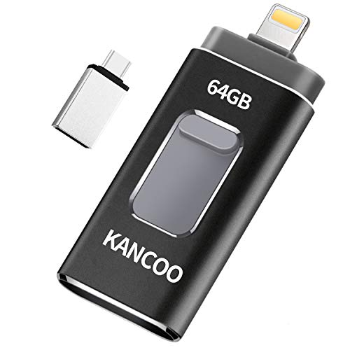 64GB Memory Stick for iPhone USB Flash Drive Photo Stick USB 3.0 Pen Drive for 13 iPhone 6/7/8/X/XS/11 Pro,iPad,Mac and PC Type C [4 in 1] External Storage by KANCOO - Grey