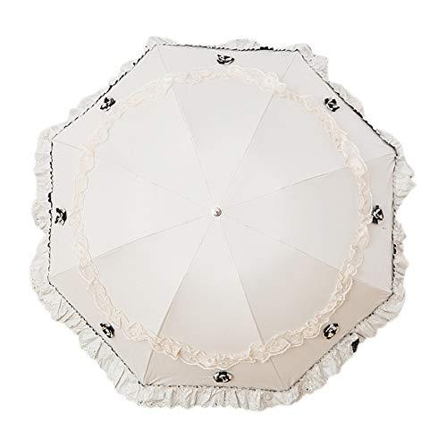 Demarkt Spitze Regenschirm, Blumenmuster Regenschirm Taschenschirm Windproof Wasserabweisend Schirm (98 cm Durchmesser)