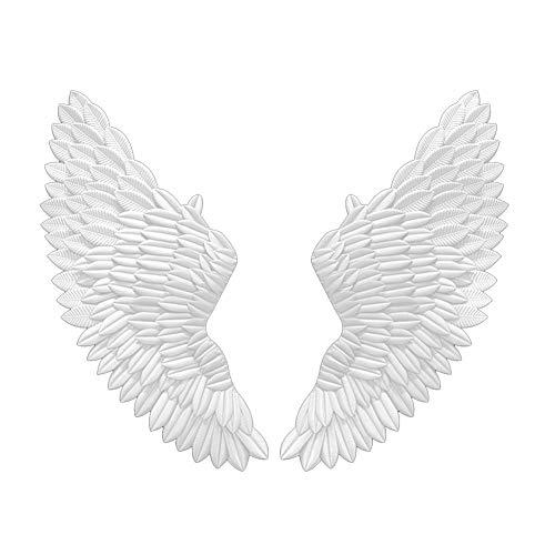 Alas de ángel Decoración de Pared Antigua Alas de ángel de Metal Bar Cafetería Decoración de Pared Hogar Dormitorio Sala de Estar Decoración de Navidad,Blanco