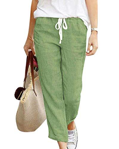 Tomwell Pantalones Verano Mujer Cintura Alta Pantalones 7/8 Longitud Lino con Cordón Pantalones Playa Pantalones Sueltos Color Sólido Casual Suave Cómodo Verde Large