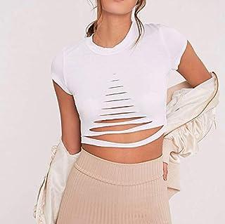 ملابس النساء تي شيرت Hole Round Neck Short Sleeve T-shirt تي شيرت (Color : White, Size : L)